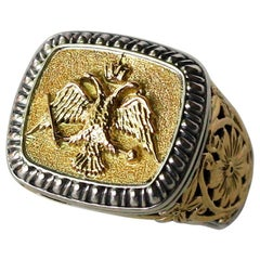 Georgios Collections 18 Karat Gold and Silver Unisex Ring Double Headed Eagle