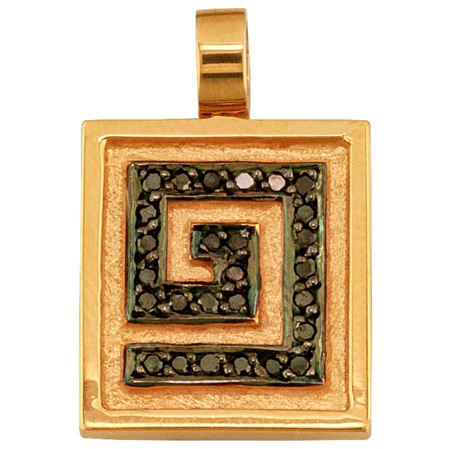 Georgios Collections 18 Karat Gold Black Diamond Pendant Drop Greek Key Enhancer