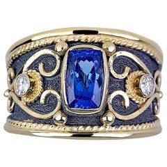 Georgios Collections 18 Karat Gold Cushion Cut Tanzanite and Diamond Band Ring