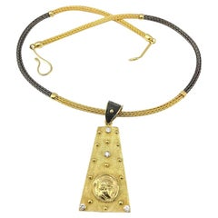 Georgios Collections 18 Karat Gold Diamond and Coin Reversable Pendant Necklace