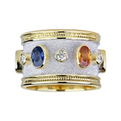 Georgios Collections 18 Karat Gold Diamond and Multicolor Sapphire Two-Tone Ring