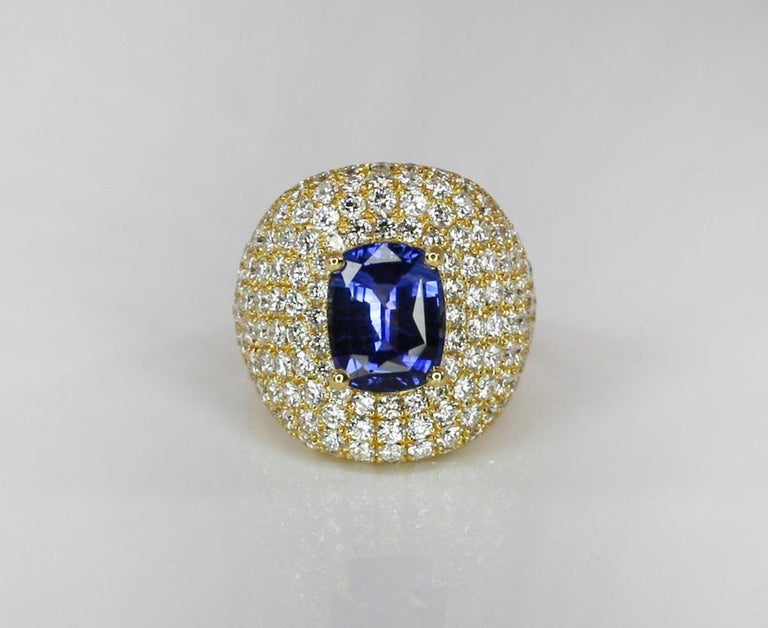 Georgios Collections 18 Karat Gold Diamond and Sapphire Wide Band Ring For Sale 4