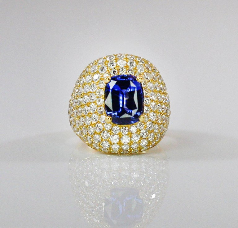 Georgios Collections 18 Karat Gold Diamond and Sapphire Wide Band Ring For Sale 5