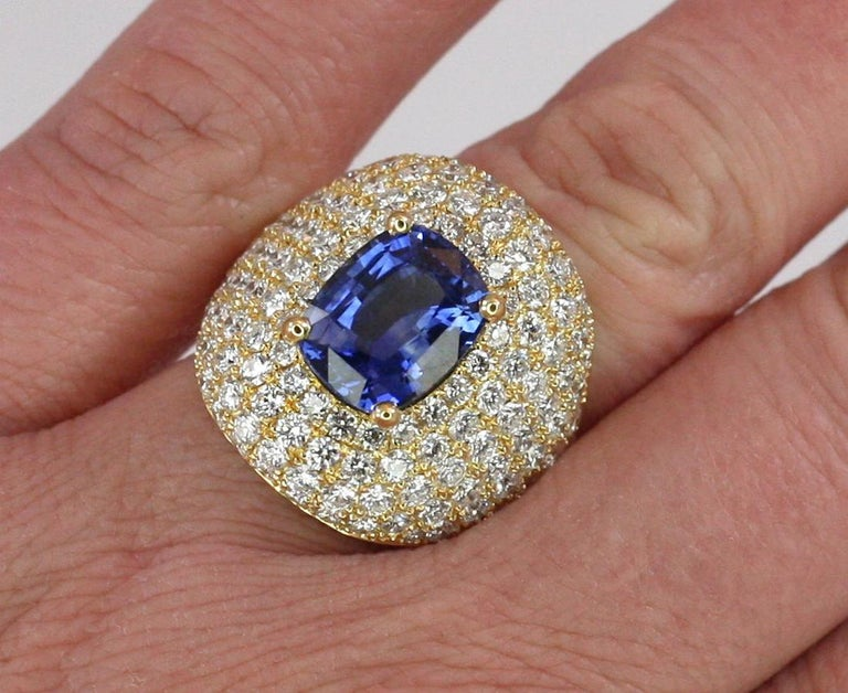 Georgios Collections 18 Karat Gold Diamond and Sapphire Wide Band Ring For Sale 6