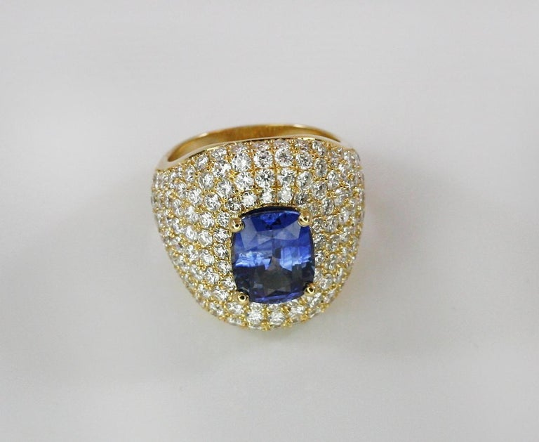 Georgios Collections 18 Karat Gold Diamond and Sapphire Wide Band Ring For Sale 7