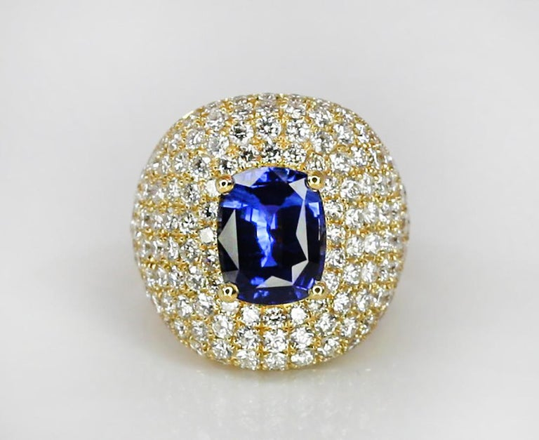 Georgios Collections 18 Karat Gold Diamond and Sapphire Wide Band Ring For Sale 8