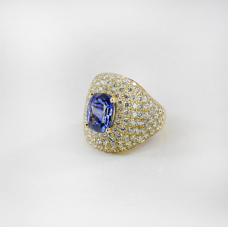 Contemporary Georgios Collections 18 Karat Gold Diamond and Sapphire Wide Band Ring For Sale