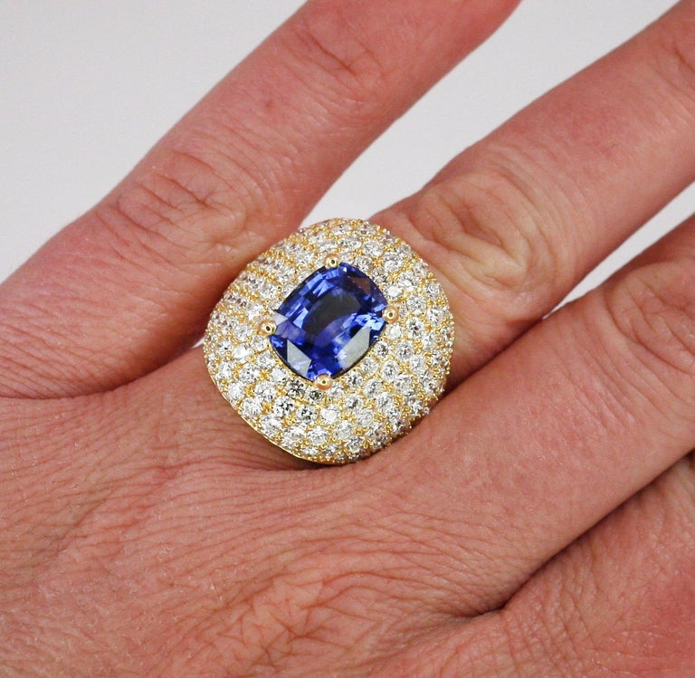 Oval Cut Georgios Collections 18 Karat Gold Diamond and Sapphire Wide Band Ring For Sale