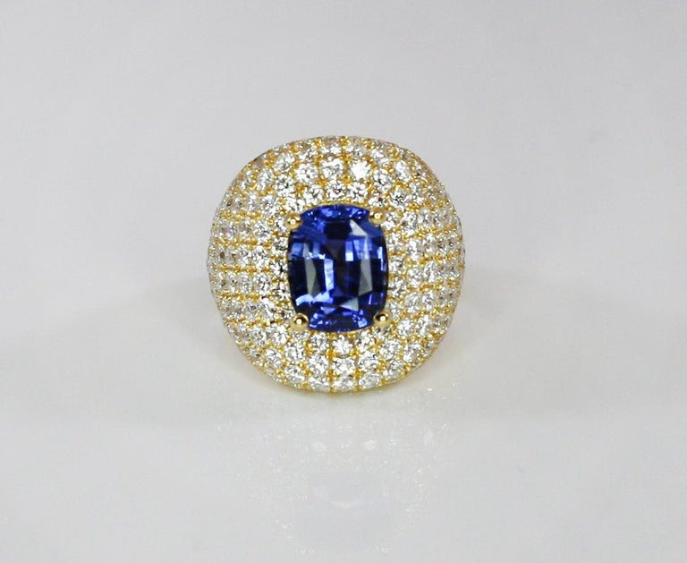 Georgios Collections 18 Karat Gold Diamond and Sapphire Wide Band Ring In New Condition For Sale In Astoria, NY