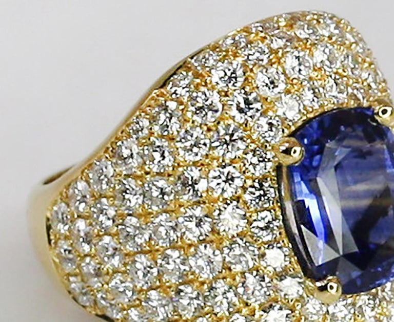 Georgios Collections 18 Karat Gold Diamond and Sapphire Wide Band Ring For Sale 2