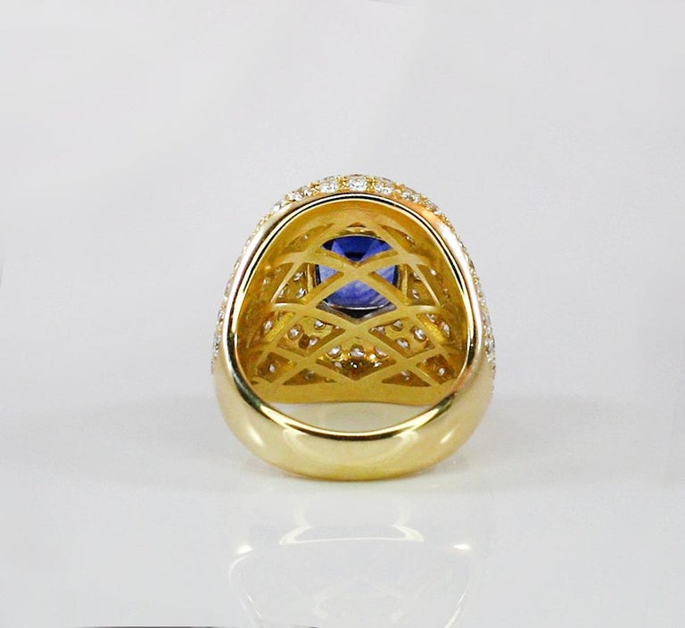 Georgios Collections 18 Karat Gold Diamond and Sapphire Wide Band Ring For Sale 3