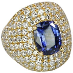 Georgios Collections 18 Karat Gold Diamond and Sapphire Wide Band Ring