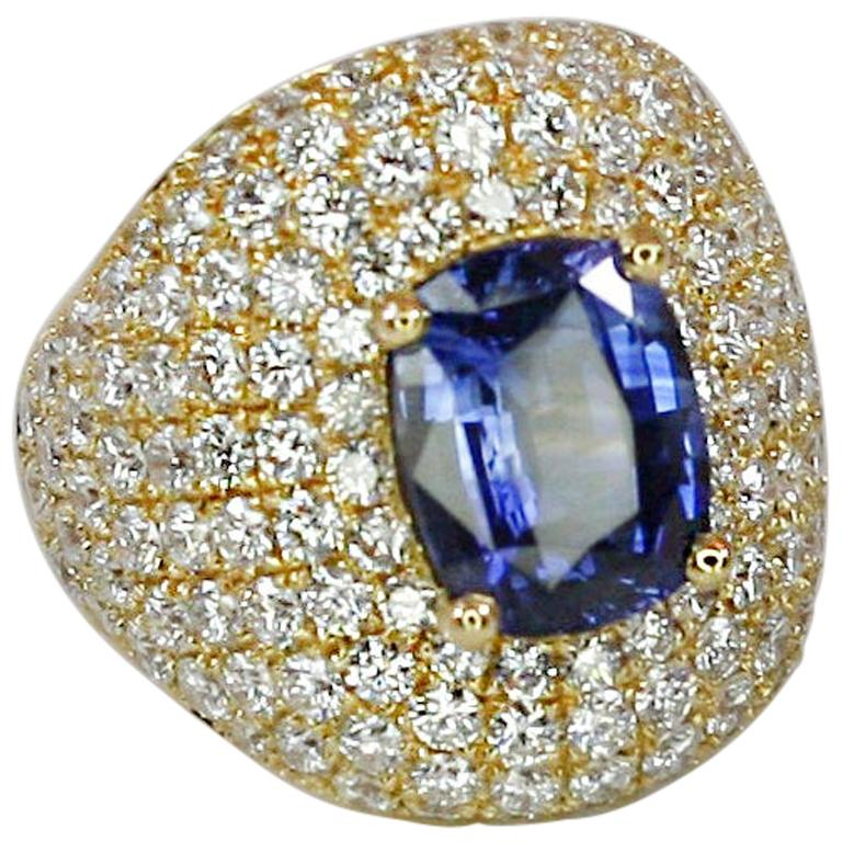 Georgios Collections 18 Karat Gold Diamond and Sapphire Wide Band Ring For Sale