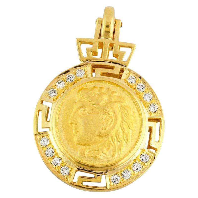 Georgios Collections 18 Karat Gold Diamond Coin Greek Key Pendant of Alexander