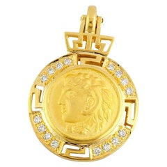 Georgios Collections 18 Karat Gold Diamond Coin Greek Key Pendant of Alexander