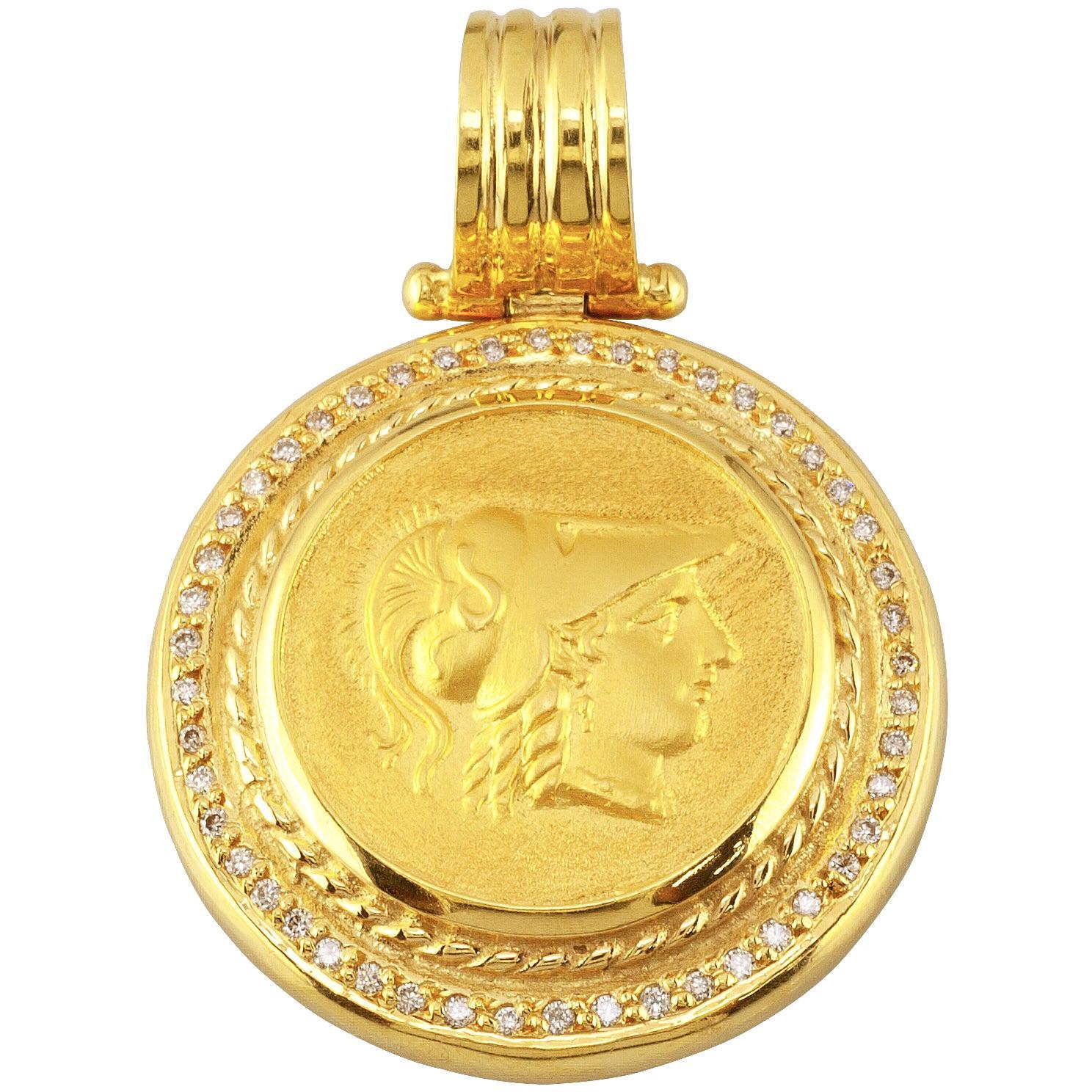 Georgios Collections 18 Karat Gold Diamond Coin Pendant Necklace of Athena