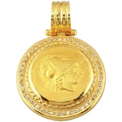 Georgios Collections 18 Karat Gold Diamond Coin Pendant Necklace of Athena