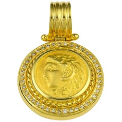Georgios Collections 18 Karat Gold Diamond Coin Pendant of Alexander the Great