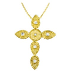 Georgios Collections 18 Karat Gold Diamond Cross With Chain and Granulation work