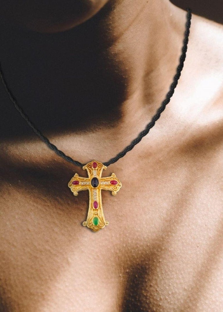 Georgios Collections 18 Karat Gold Diamond Cross with Sapphire, Ruby, Emerald For Sale 8