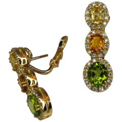 Georgios Collections 18 Karat Gold Diamond Earrings with Sapphire and Peridot