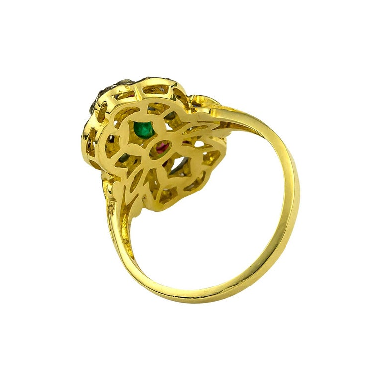Georgios Collections 18 Karat Gold Diamond Emerald Ruby Ring with Black Rhodium In New Condition For Sale In Astoria, NY