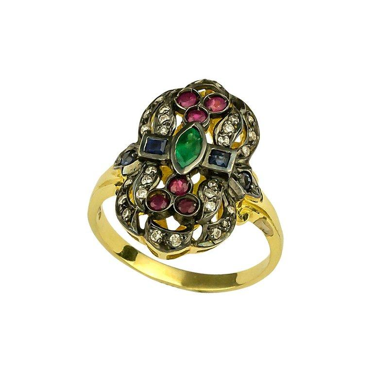 Georgios Collections 18 Karat Gold Diamond Emerald Ruby Ring with Black Rhodium For Sale 1