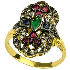 Georgios Collections 18 Karat Gold Diamond Emerald Ruby Ring with Black Rhodium