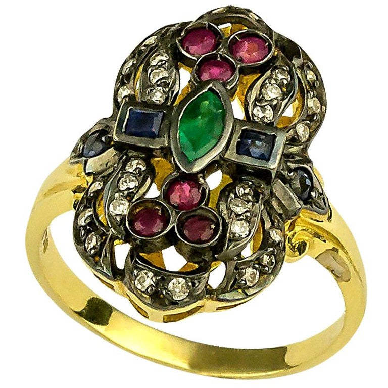 Georgios Collections 18 Karat Gold Diamond Emerald Ruby Ring with Black Rhodium For Sale
