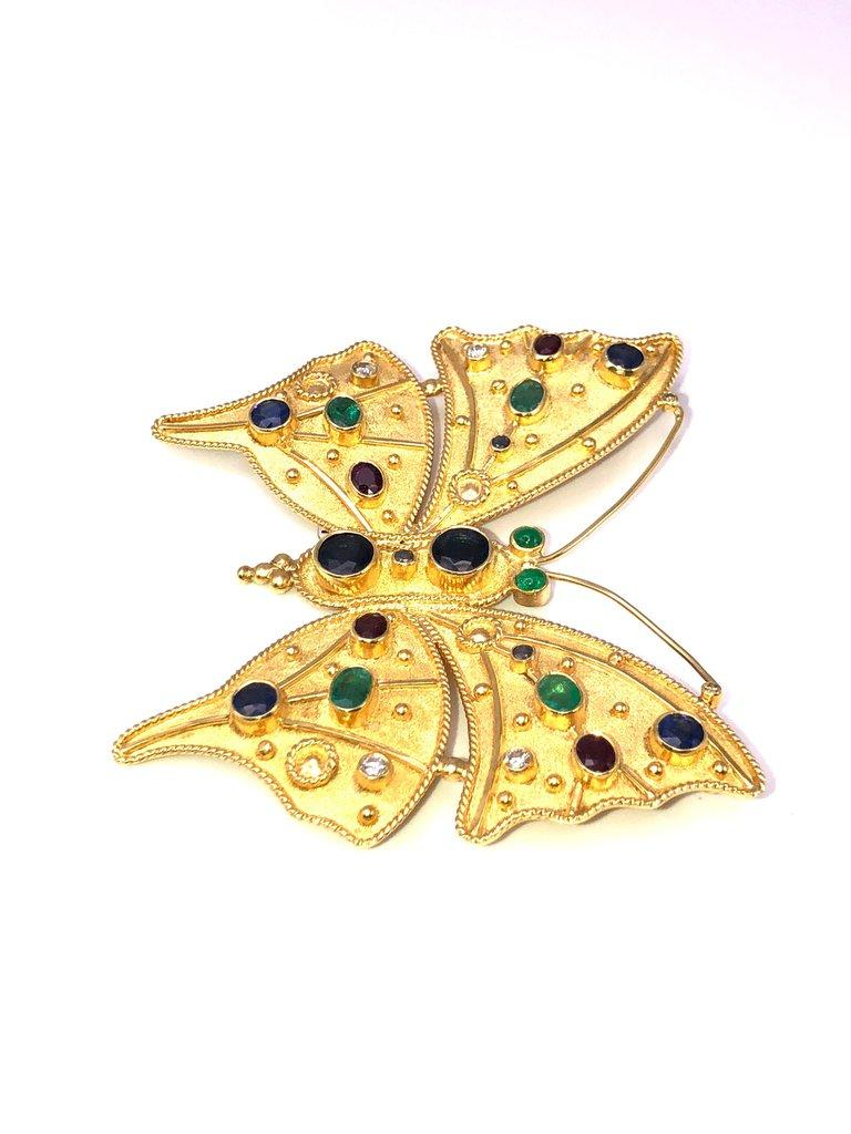 Byzantine Georgios Collections 18 Karat Gold Diamond Emerald Sapphire Butterfly Brooch  For Sale