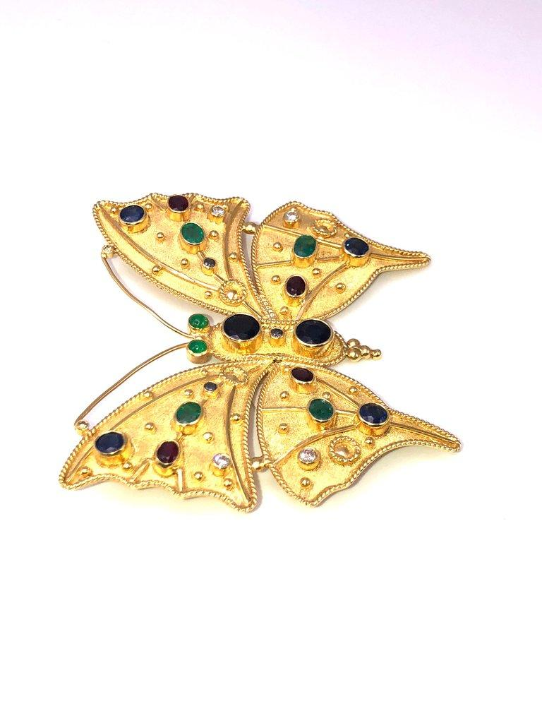 Oval Cut Georgios Collections 18 Karat Gold Diamond Emerald Sapphire Butterfly Brooch  For Sale