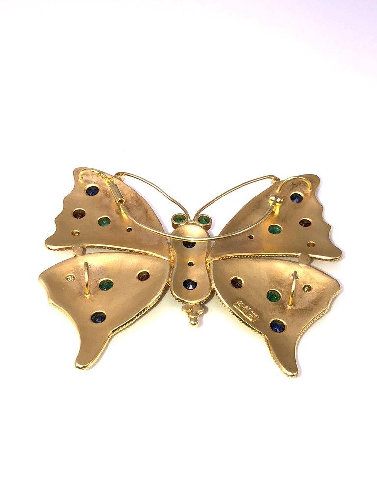 Georgios Collections 18 Karat Gold Diamond Emerald Sapphire Butterfly Brooch  In New Condition For Sale In Astoria, NY