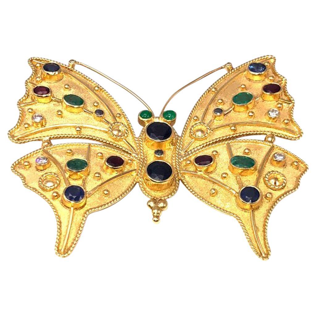 Georgios Collections 18 Karat Gold Diamond Emerald Sapphire Butterfly Brooch