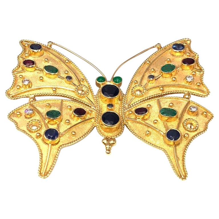 Georgios Collections 18 Karat Gold Diamond Emerald Sapphire Butterfly Brooch  For Sale
