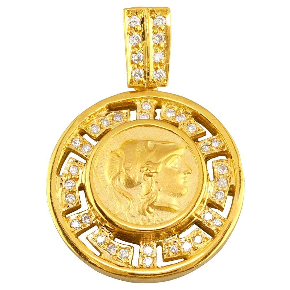 Georgios Collections 18 Karat Gold Diamond Greek Key Athena Coin Pendant Enhance