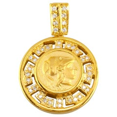 Georgios Collections 18 Karat Gold Diamond Greek Key Athena Coin Pendant Enhance