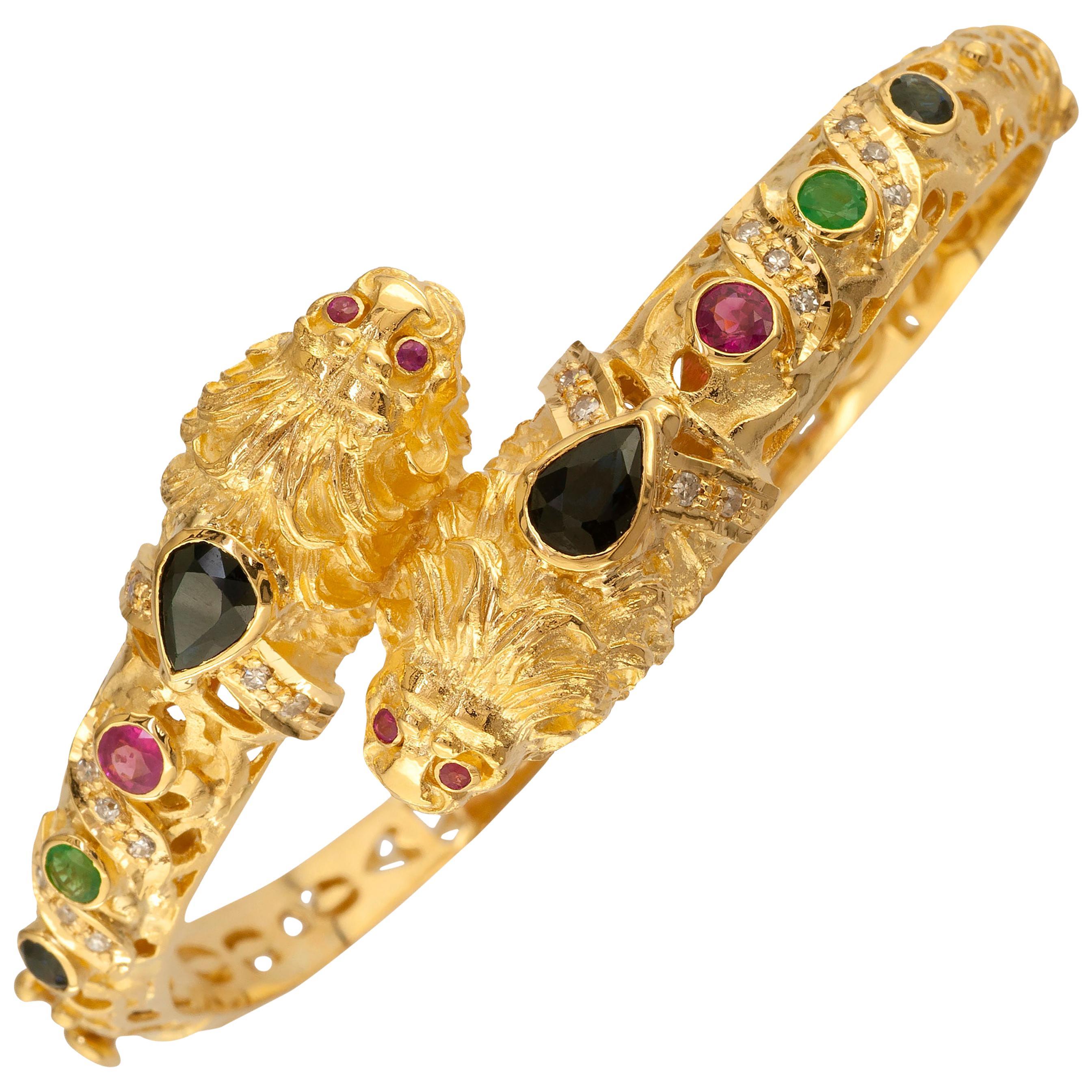 Georgios Collections 18 Karat Gold Diamond Multi-Color Lion Head Bangle Bracelet