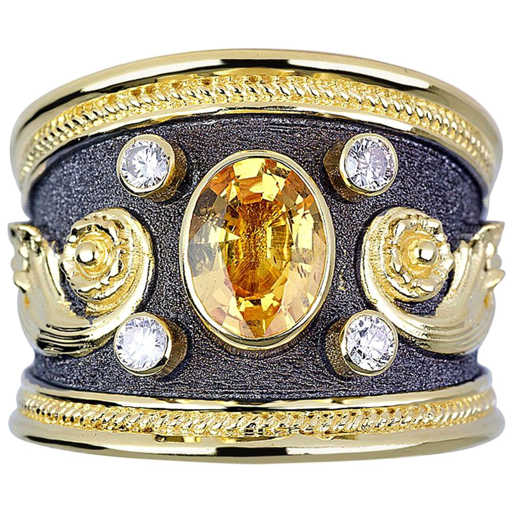 Georgios Collections 18 Karat Gold Sapphire and Diamonds Two-Tone Band Ring