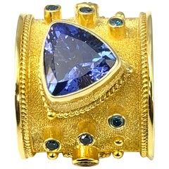 Georgios Collections 18 Karat Gold Diamond Ring with Tanzanite and Diamonds