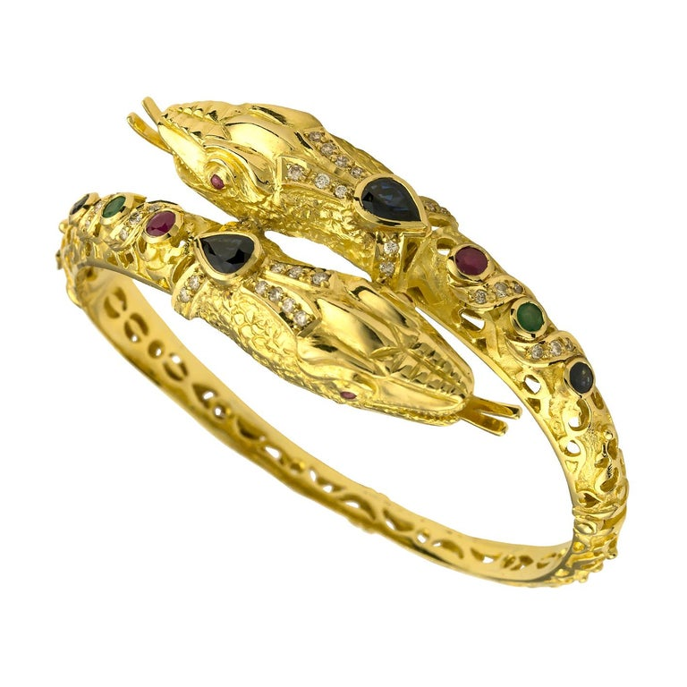 Pear Cut Georgios Collections 18 Karat Gold Diamond Ruby Emerald Sapphire Snake Bracelet For Sale