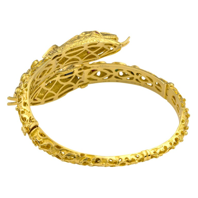Georgios Collections 18 Karat Gold Diamond Ruby Emerald Sapphire Snake Bracelet In New Condition For Sale In Astoria, NY