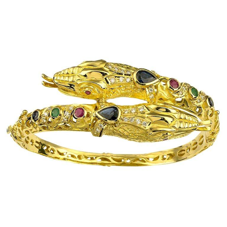Georgios Collections 18 Karat Gold Diamond Ruby Emerald Sapphire Snake Bracelet For Sale 2