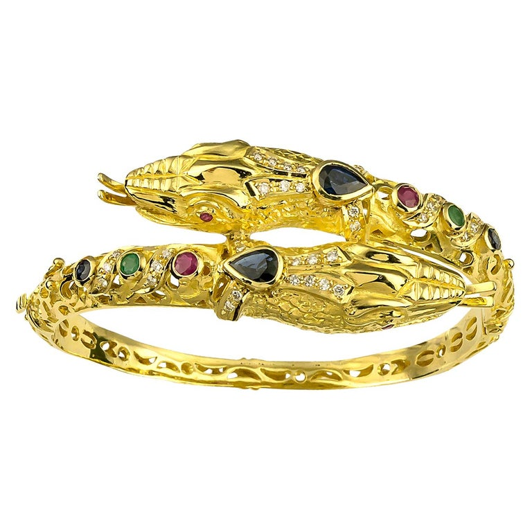 Georgios Collections 18 Karat Gold Diamond Ruby Emerald Sapphire Snake Bracelet For Sale