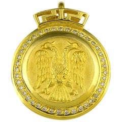Georgios Collections 18 Karat Gold Double Headed Eagle Diamond Coin Key Pendant