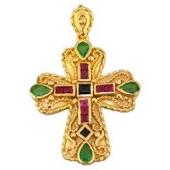 Georgios Collections 18 Karat Gold Emerald Sapphire Rubies Multi-Color Cross