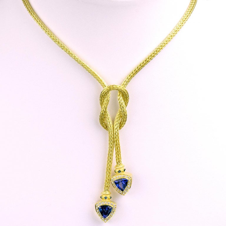 Byzantine Georgios Collections 18 Karat Gold Hand-Knitted Rope Necklace with Tanzanite For Sale