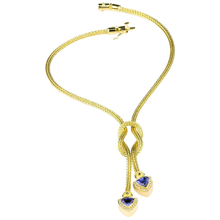 Trillion Cut Georgios Collections 18 Karat Gold Hand-Knitted Rope Necklace with Tanzanite For Sale
