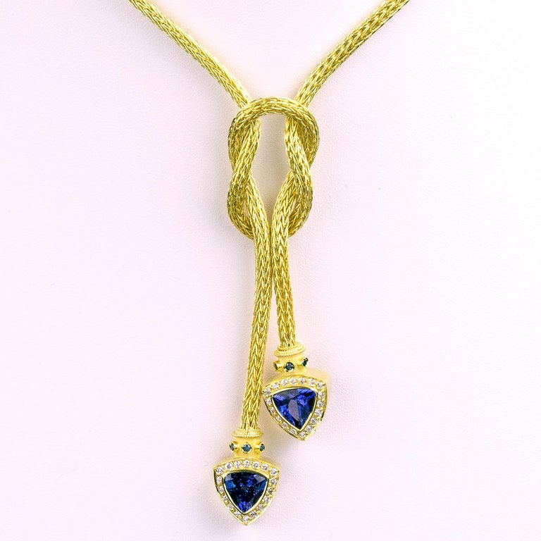 Georgios Collections 18 Karat Gold Hand-Knitted Rope Necklace with Tanzanite In New Condition For Sale In Astoria, NY