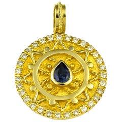 Georgios Collections 18 Karat Gold Pear Shape Sapphire Diamond Pendant Enhancer