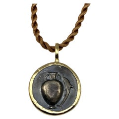 Georgios Collections 18 Karat Gold Pendant Necklace with a Silver Amphora Coin